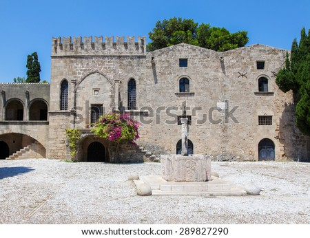 Courtyard at the Archeological Museum of Rhodes, Greece - stock photo