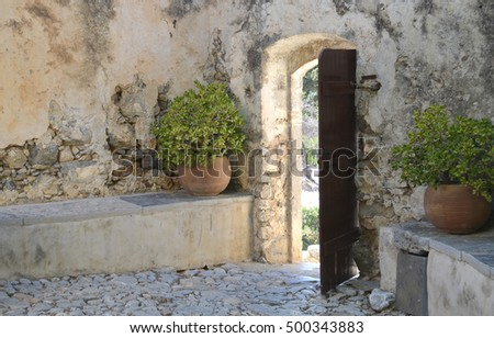 Courtyard Doorway at Kato Moni Preveli (Lower Monastery Preveli)