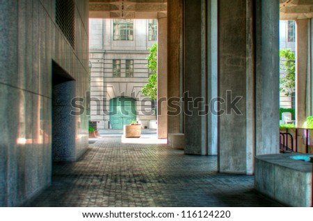 Courtyard for beuros - stock photo