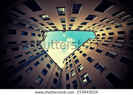courtyard in St. Petersburg, fisheye lens - stock photo