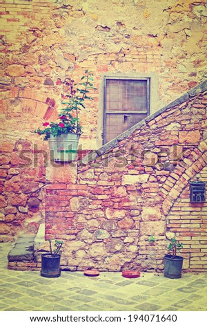 Courtyard in the Italian City of Cetona, Retro Effect - stock photo