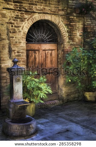 Courtyard in the Midieval Village of Buonconvento, Italy - stock photo