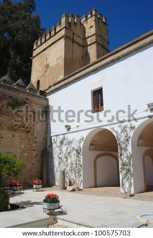 Courtyard inside the castle, Palace Fortress of the Christian Kings, Cordoba, Cordoba Province, Andalusia, Spain, Western Europe.