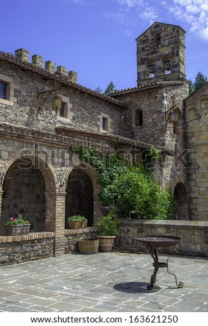 Courtyard of an old castle - stock photo