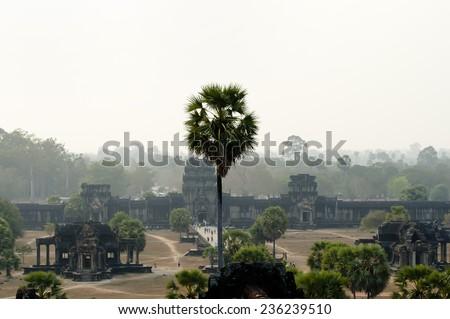 Courtyard of Angkor Wat -Siem Reap - Cambodia - stock photo
