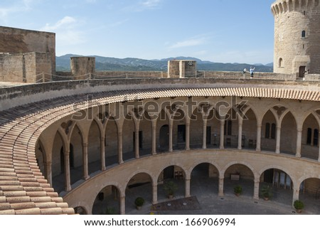 Courtyard of Bellver castle, Palma of Mallorca, Spain - stock photo