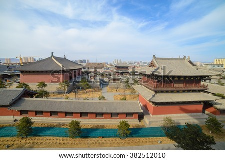 Courtyard of Datong`s Huayan temple. Huayan temple was built in Liao Dynasty(AD.1038). Datong is situated in the north of Chinese Shanxi. It is an ancient city with a history of more than 2400 years.  - stock photo