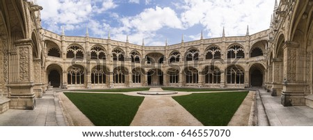 Courtyard of Jeronimos Monastery in Lisbon Portugal panoramic