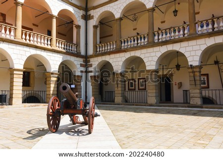 Courtyard of Niepolomice Castle, Poland  - stock photo