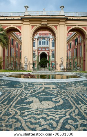 Courtyard of Palazzo Reale in Genoa, Italy - stock photo