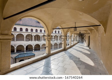 Courtyard of Pieskowa Skala - Poland - stock photo