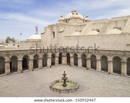 Courtyard of the Church of the company of Jesus at Arequipa, Peru