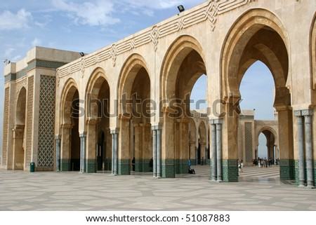 Courtyard of the Hassan II Mosque in Casablanca