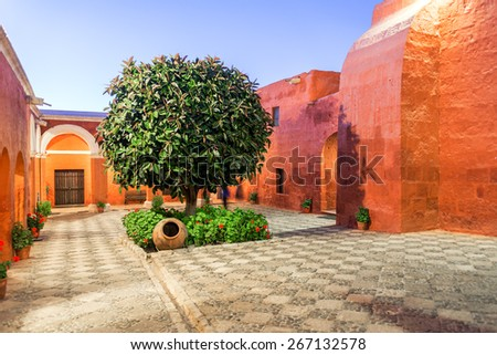 Courtyard of the Santa Catalina Monastery in Arequipa, Peru taken at night - stock photo