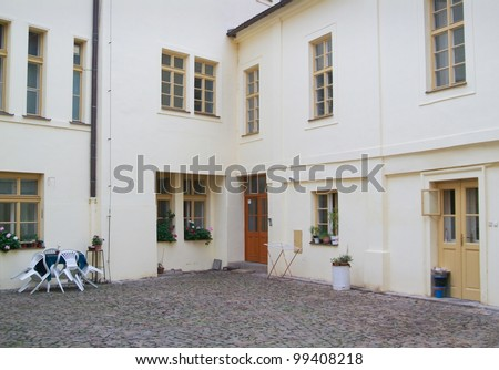Courtyard old tenement house. - stock photo