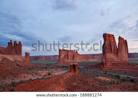 Courtyard Wash area in Arches National Park, Utah. - stock photo