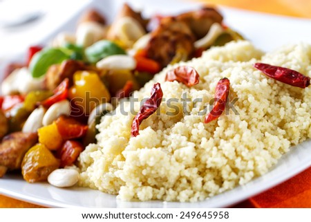 Cous Cous whit meat and vegetables - stock photo