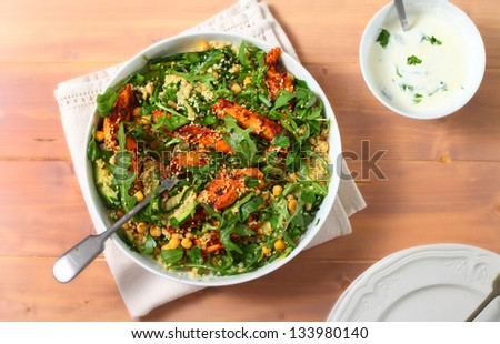 couscous and chicken salad - stock photo