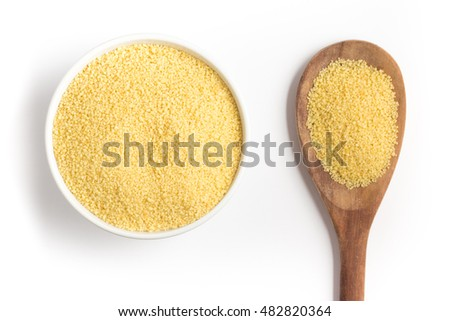 Couscous into a bowl isolated in white background. Cuscuz Marroquino