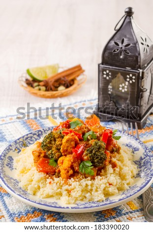 Couscous marocain wih chicken and vegetables - stock photo