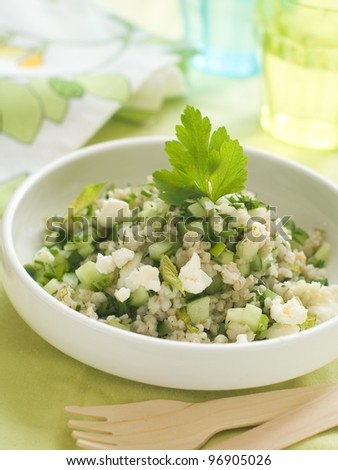 Couscous salad with mint and cucucmber, selective focus