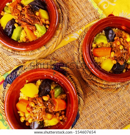 Couscous - traditional moroccan food in Marrakech, Morocco, Africa - stock photo
