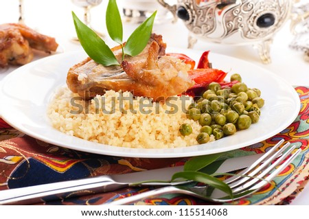 Couscous with green-stuffs and Arabic tableware, east kitchen