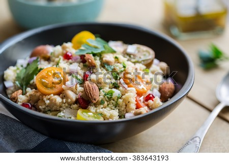 Couscous with Pomegranate and Almond salad by salad dressing