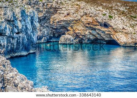 cove in the rocky beach on the Adriatic sea near Otranto in Apulia, Italy - stock photo