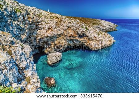 cove on the rocky beach near Otranto in Puglia, Italy - stock photo
