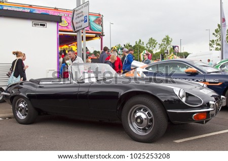 COVENTRY, UK - JUNE 4: A vintage Jaguar E-Type sports car stands on display for the public to view during the MotoFest weekend event on June 4, 2017 in Coventry