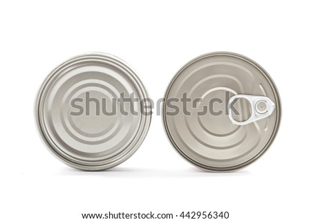 Cover and bottom cans isolated on white background.