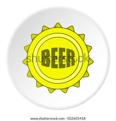 Cover beer icon in cartoon style on white circle background. Bottle symbol  illustration