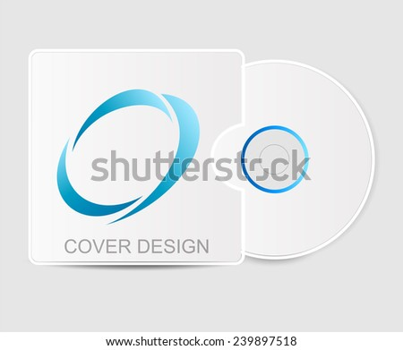 Cover design with logo. Blank white compact disk with cover mock up template. illustration  - stock photo