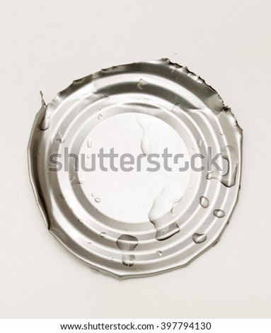 cover jars of canned food on a white background - stock photo