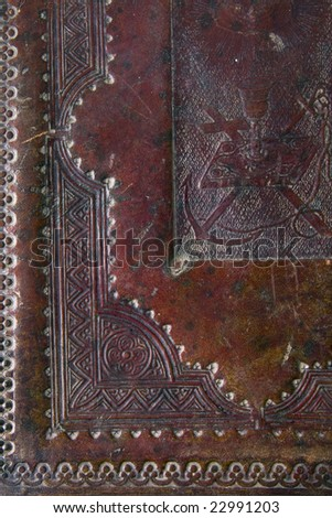 cover of an ancient XIX century bible as a background - stock photo