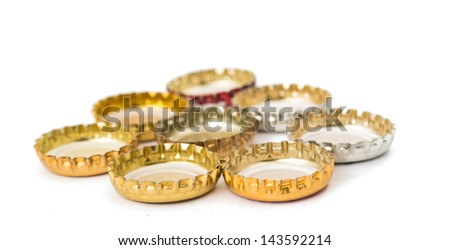 Cover of beer on white background - stock photo