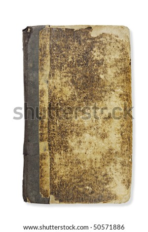 Cover of the nineteenth century prayerbook on white. Clipping path.
