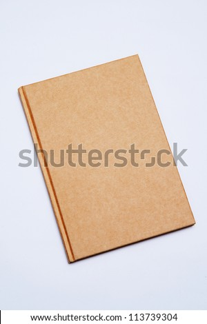 cover old style recycle brown notebook isolated on white background - stock photo
