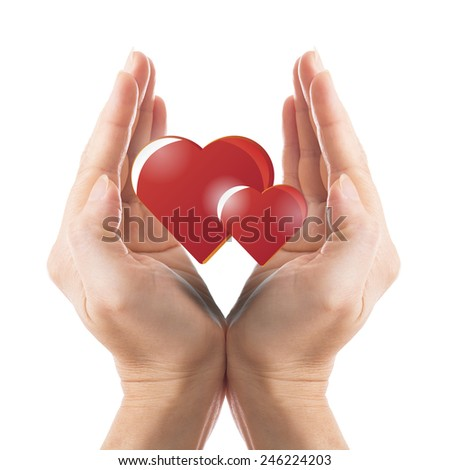 Cover our love with your hand with white background