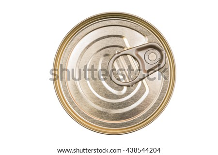 Cover the tin cans. Top view of a can food isolated. The lid of a tin can. Food packaging. Metal containers for food. - stock photo
