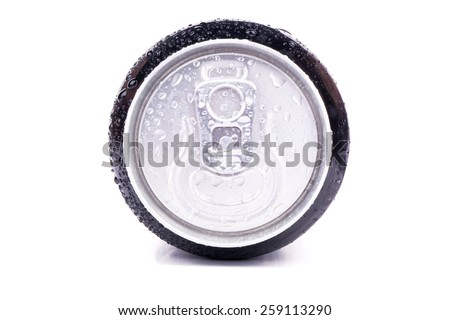 Cover tin can with drops on white background - stock photo