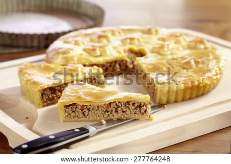 Covered Bolognese Minced Meat Pie - stock photo