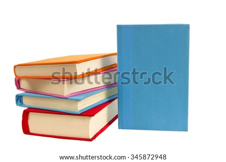 Covered books one standing blank front/ Colorful Books One Blank Front - stock photo
