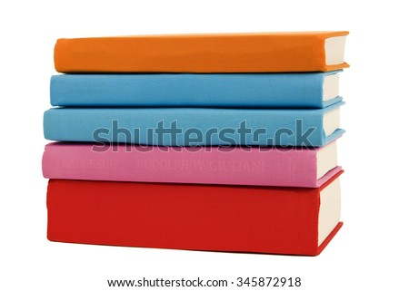 Covered books with bright colors and blank spines/ Bright Colored Books Blank Spines - stock photo