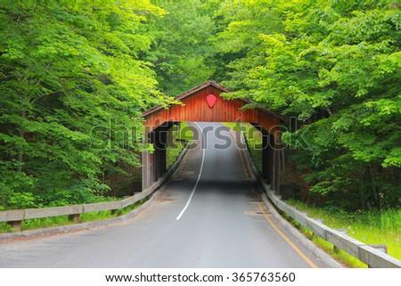 Covered bridge near Sleeping bear sand dunes in Michigan - stock photo