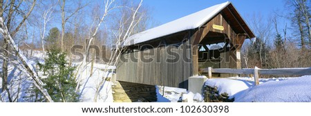 Covered Bridge, Stowe, Winter, Vermont - stock photo