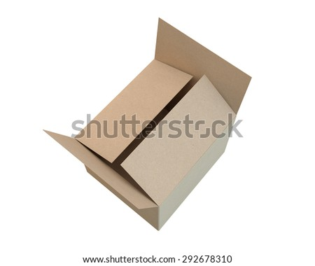 covered cardboard box of the recycled paper, top view - stock photo
