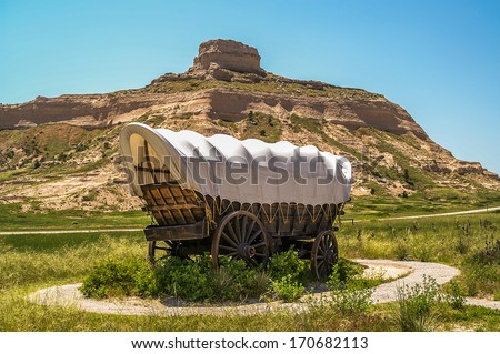 Covered Wagon at Scotts Bluff National Monument in Nebraska