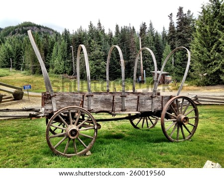 Covered Wagon from the Oregon Trail on Display at Mt. Hood.